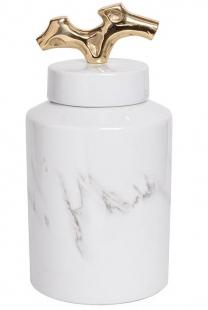 Ваза керамическая с крышкой бело-серая 55RD3226M