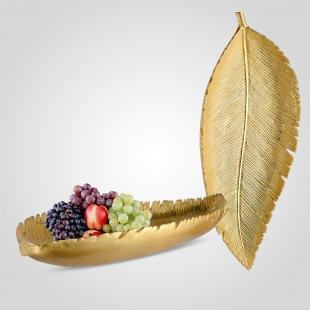 Блюдо-Лист Ребристое Удлиненное Золотистое L