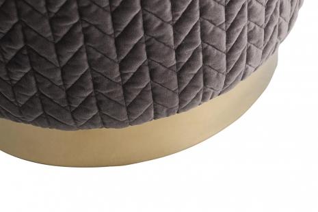 Банкетка круглая велюровая светло-серая GY-BEN8143GOLD-DG