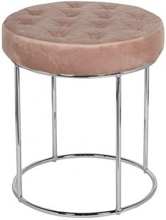 Банкетка велюровая розовая круглая (золото) GY-BEN8172-PK