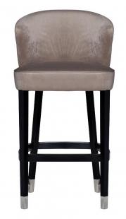 Стул барный велюровый жемчужно-серый