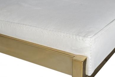 Стул барный белый велюровый (золото)