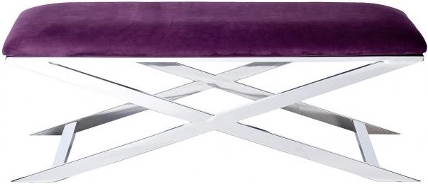 Банкетка велюровая фиолетовая/хром
